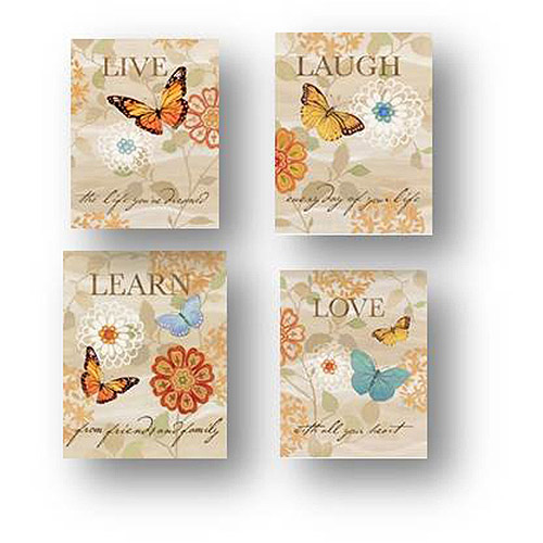 "Love, Learn, Laugh Live Foil Butterfly Canvas Wall Art, 6.5"" x 8.5"", 4-Pack"