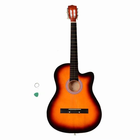 38 Inch Cutaway Acoustic Guitars with Guitar Plectrum Sunset 38' Acoustic Cutaway Guitar
