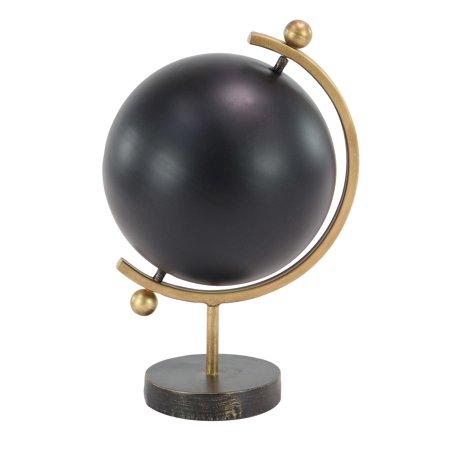 Decmode 17 X 9 Inch Contemporary Iron Black Globe, Black