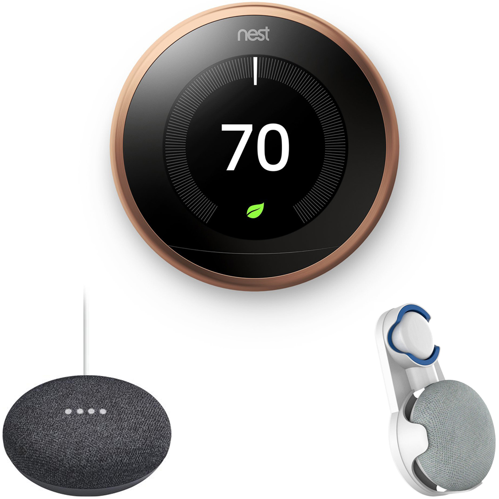 Nest Learning Thermostat 3rd Gen Copperl (T3021US) with Google Home Mini Home Smart Speaker with Google Assistant Charcoal & Deco Gear Google Home Mini Outlet Wall Mount white