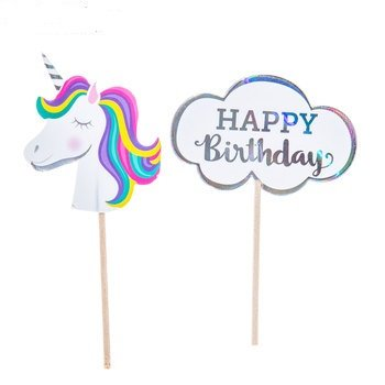 Unicorn Birthday Cupcake Toppers Decoration Kids Party Supplies 24 Picks