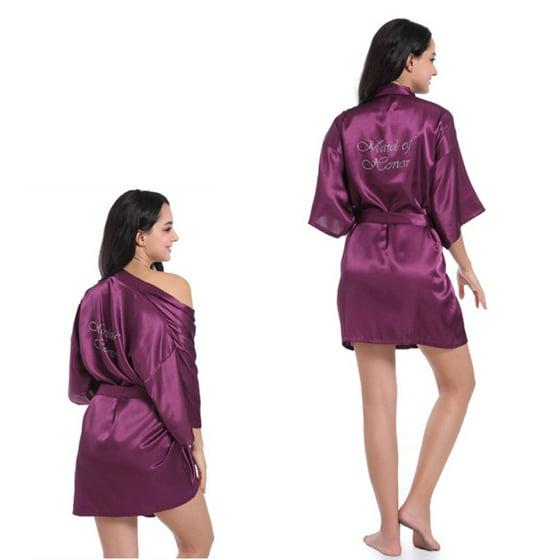 EFINNY - Womens Robe Nightwear Letters Emulation Silk Bathrobe ... bb0f29db2