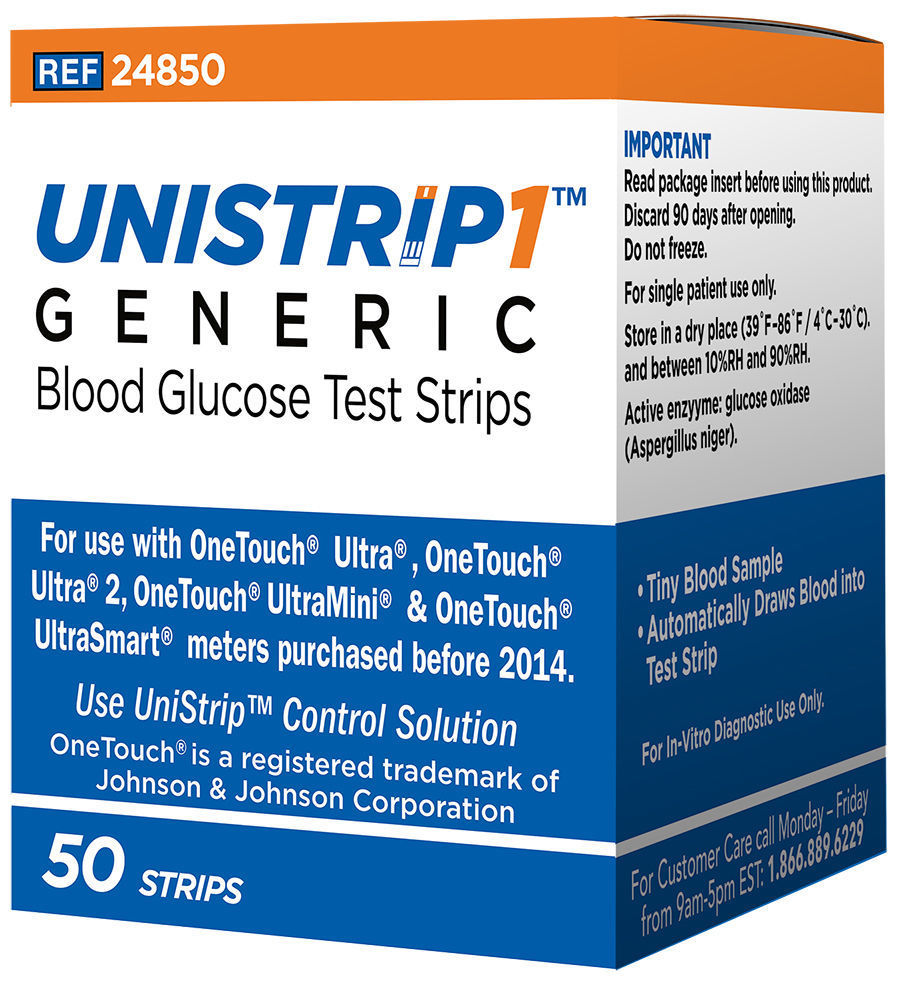 Unistrip Generic Blood Glucose Test Strips 50 Count Box