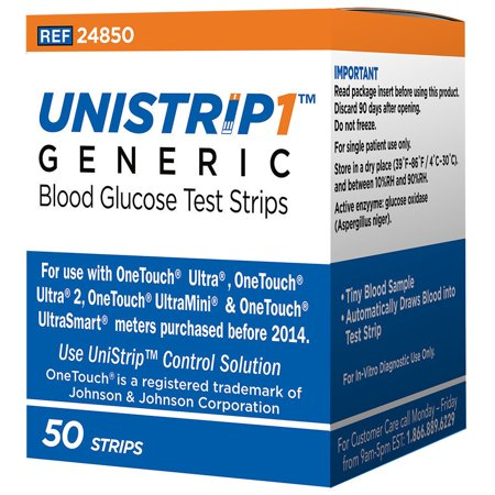 Unistrip Generic Blood Glucose Test Strips 50 Count