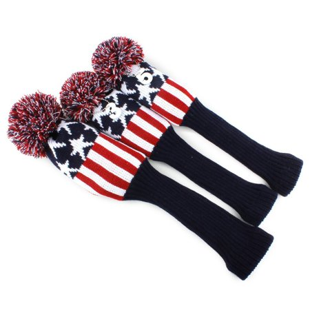 Golf Club Knit Head Cover 3pcs Headcover Set Vintange Pom Pom Sock Covers 1-3-5 red&whiteUSA STAR