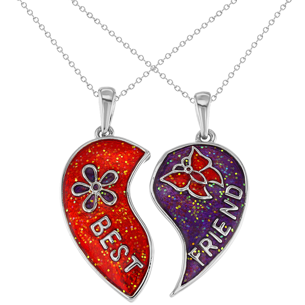Rhodium Plated Red Purple Heart Love Best Friend Girls Pendant Necklace 19""