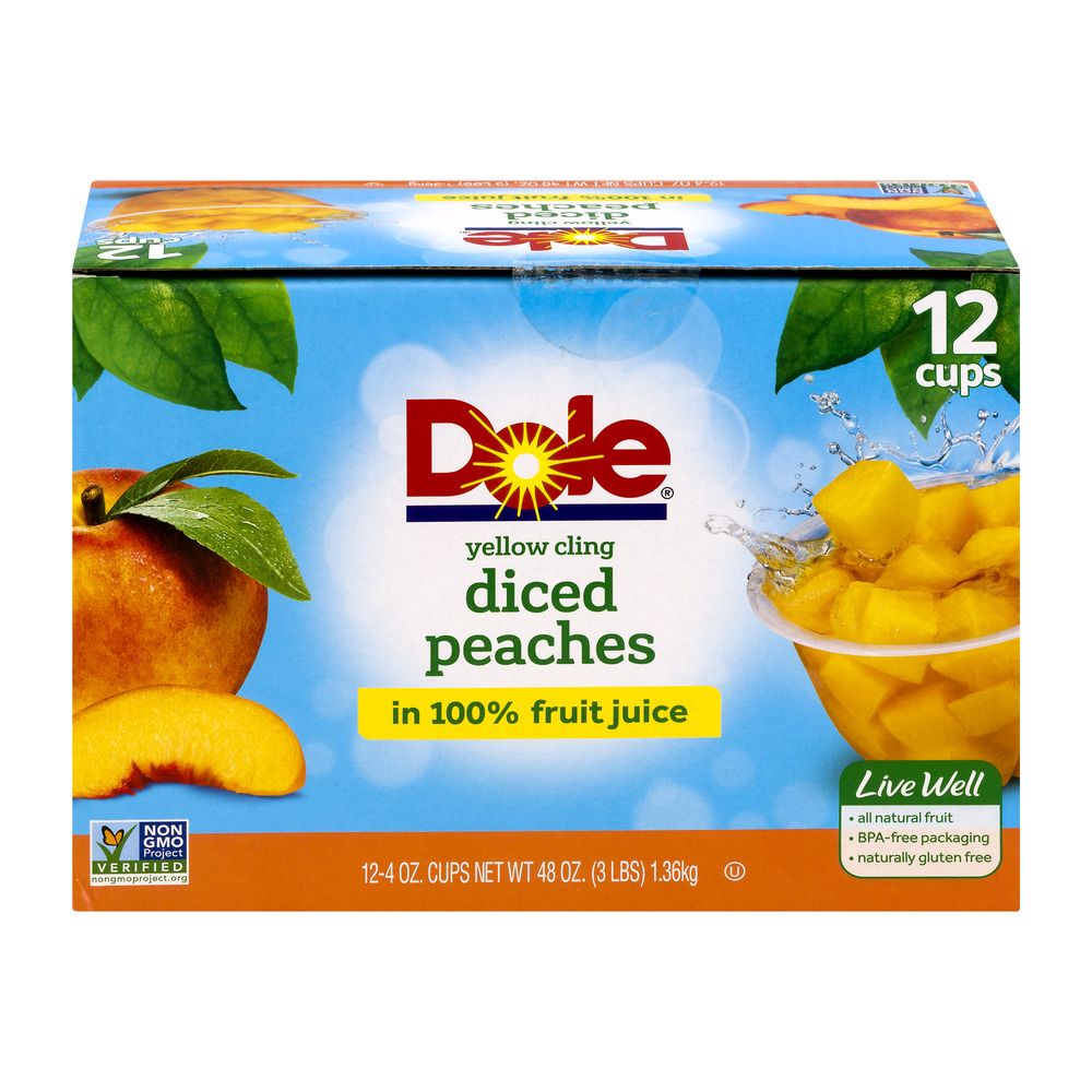 Dole�� Yellow Cling Diced Peaches in 100% Fruit Juice 12-4 oz. Cups