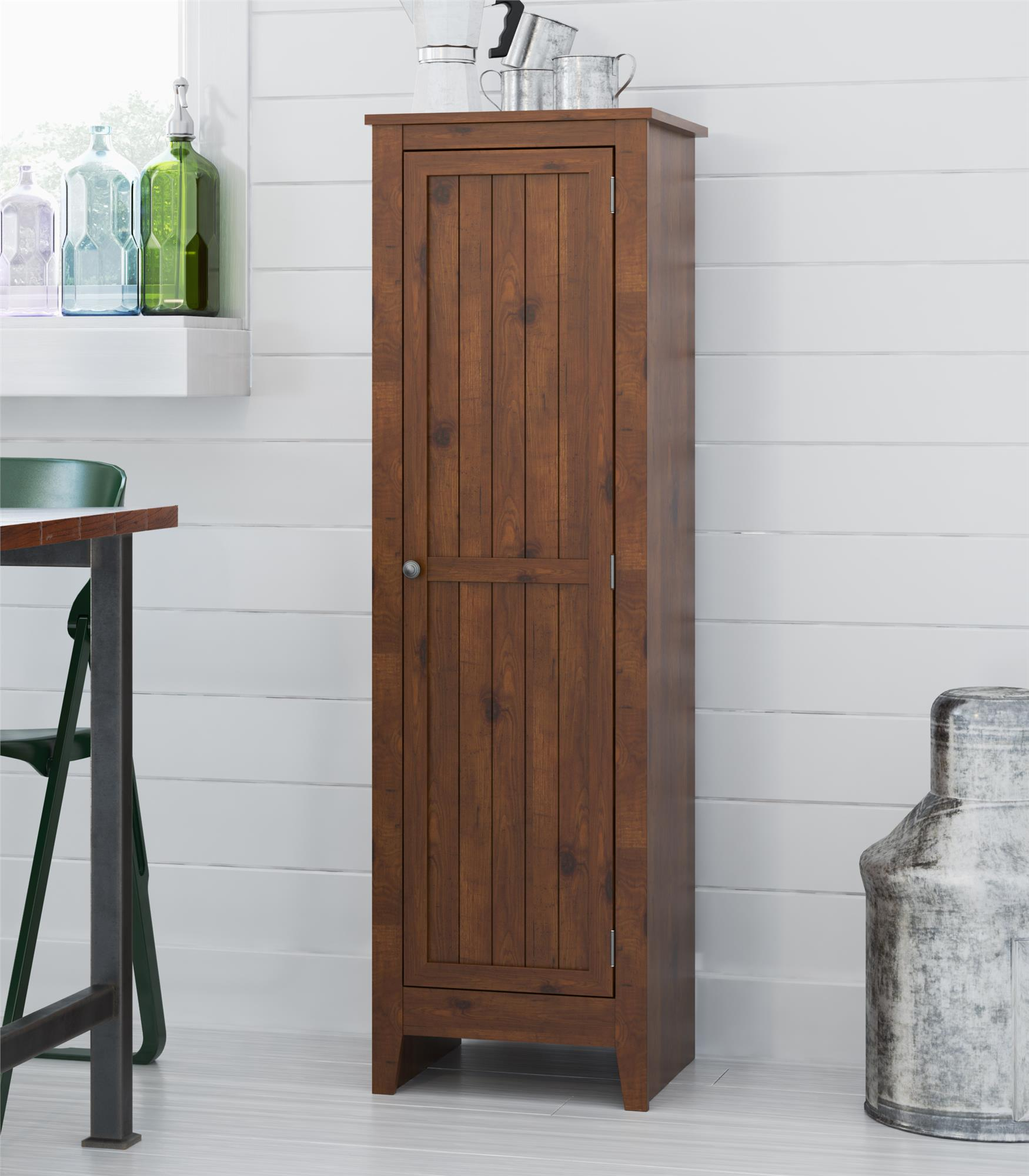 Ameriwood Home Milford Single Door Storage Pantry Cabinet Old Fashioned Pine  sc 1 st  Walmart & Ameriwood Home Milford Single Door Storage Pantry Cabinet Old ...