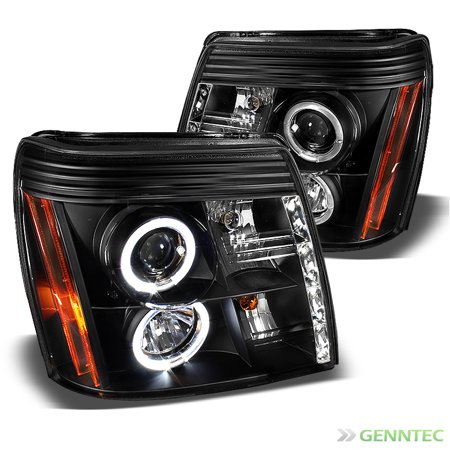 2002-2006 Cadillac Escalade Twin Halo LED Black Projector Headlights Lamp  Pair Left+Right 2003 2004 2005
