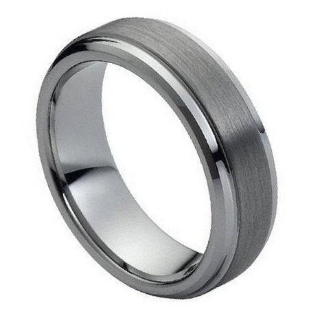 7mm Tungsten Carbide Shiny beveled Edge Brushed raised Center Wedding Band Ring For Men Or Ladies Beveled Edge Tungsten Ring