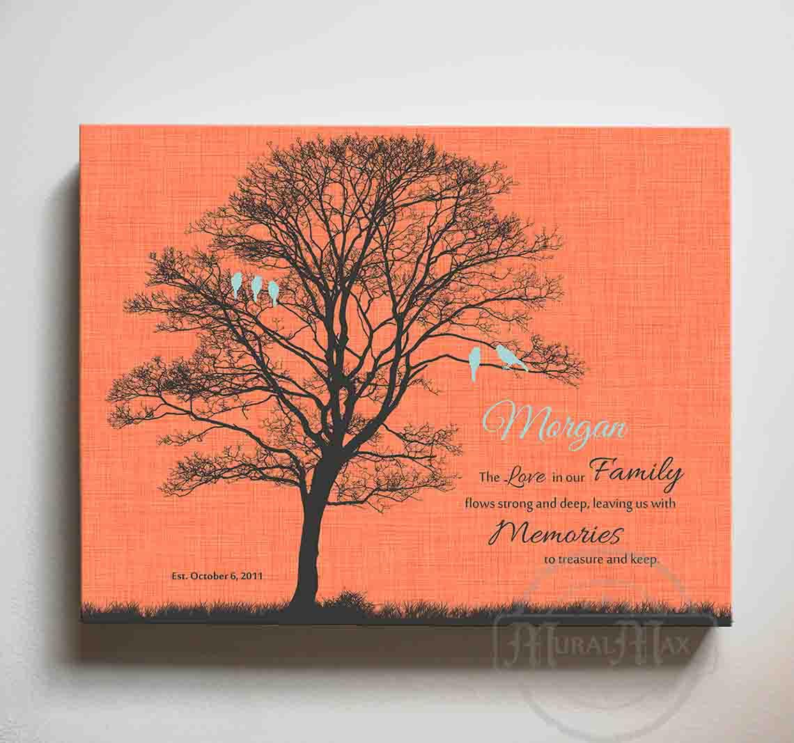 MuralMax Personalized Canvas Family Tree - Memories To Treasure  Inspirational Quote, His & Hers Anniversary Wall Decor - Romantic Gifts For  Milestone ...