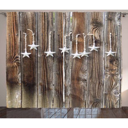 Primitive Country Curtains 2 Panels Set, Silver Colored Ornate Stars on  Wooden Rustic Fence Cabin Design Print, Window Drapes for Living Room  Bedroom, ...