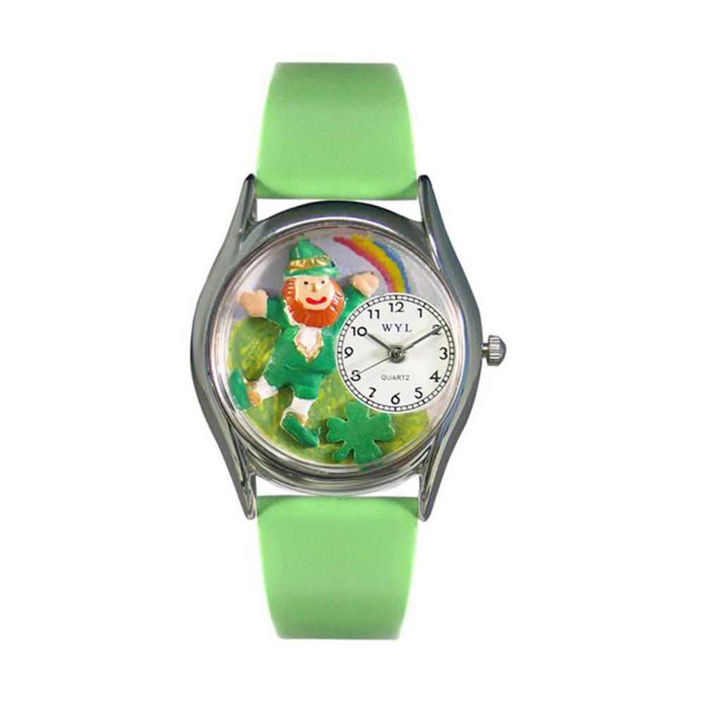 Whimsical St.Patrick's Day Rainbow Green Leather And Silvertone Watch