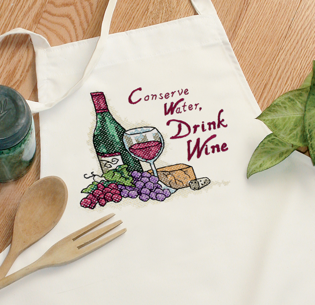 """Dimensions """"Drink Wine"""" Apron Stamped Cross Stitch"""