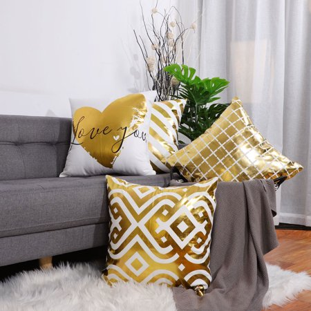 Pack of 4 Gold Letters Bronzing Throw Pillow Case Sofa Cushion Covers Sets, #13