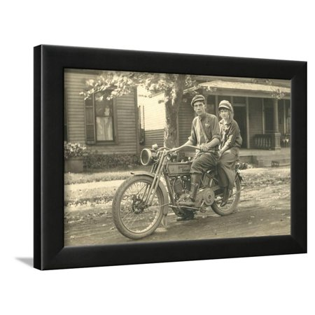 Black and White Photo of Couple on Motorcycle Framed Print Wall (Sexy Black And White Photos Of Couples)