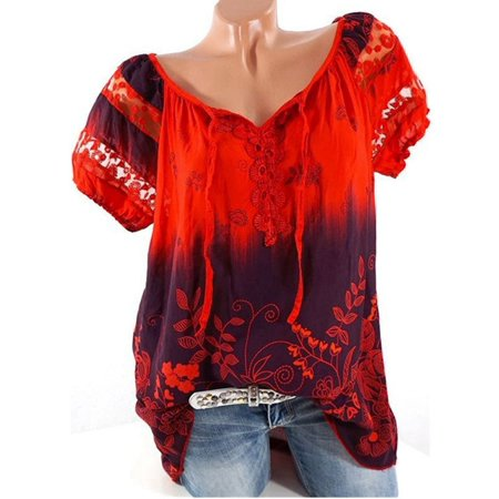Plus Size Womens Retro V-Neck Floral Printed Tunic Shirt Blouse Short Sleeve Loose Lace Top