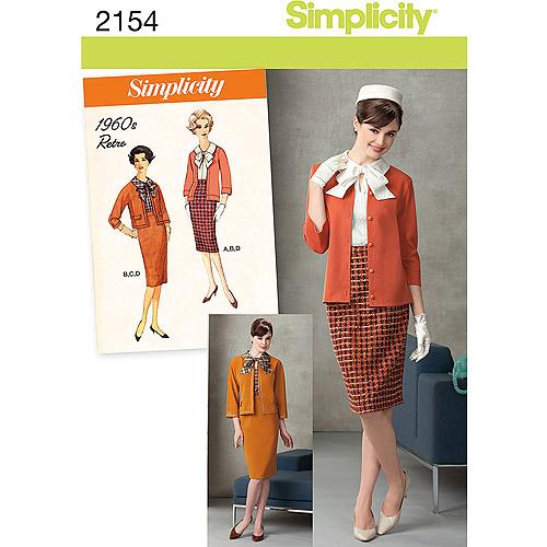 Simplicity Pattern Misses' Sportswear, Retro Blouse/Skirt/Jacket/Knit Cardigan, (16, 18, 20, 22, 24)