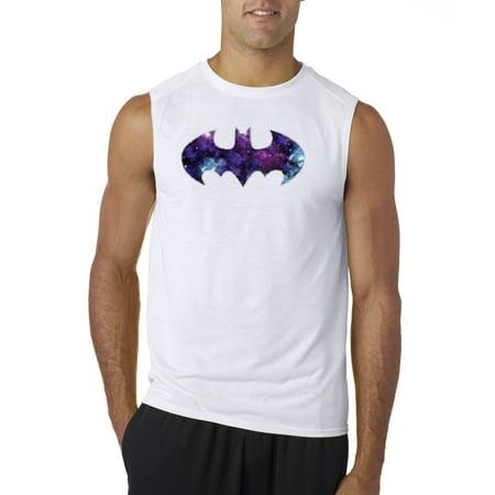 Blue And Grey Batman (New Way 631 - Men's Sleeveless Batman Dark Knight Galaxy Logo)
