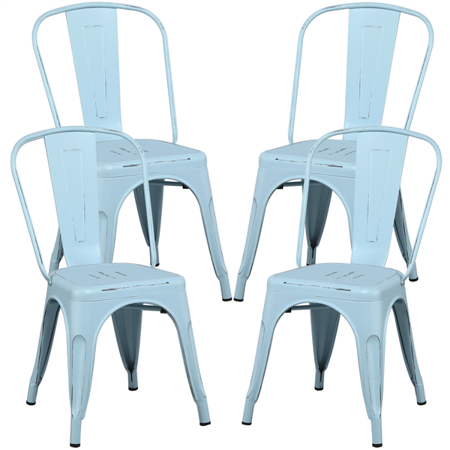 Dining Chairs Industrial Distressed Style Chairs Indoor/Outdoor with Back Metal (Set of 4) ()