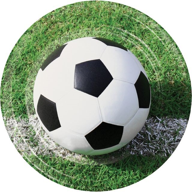"""Party Creations Sports Fanatic Soccer Dinner Plate, 9"""", 8 Ct"""