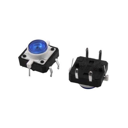 Burton Two Light - 2 Pcs Blue LED Light Momentary Tactile Tact Push Button Switch 12x12x7mm 4P DIP