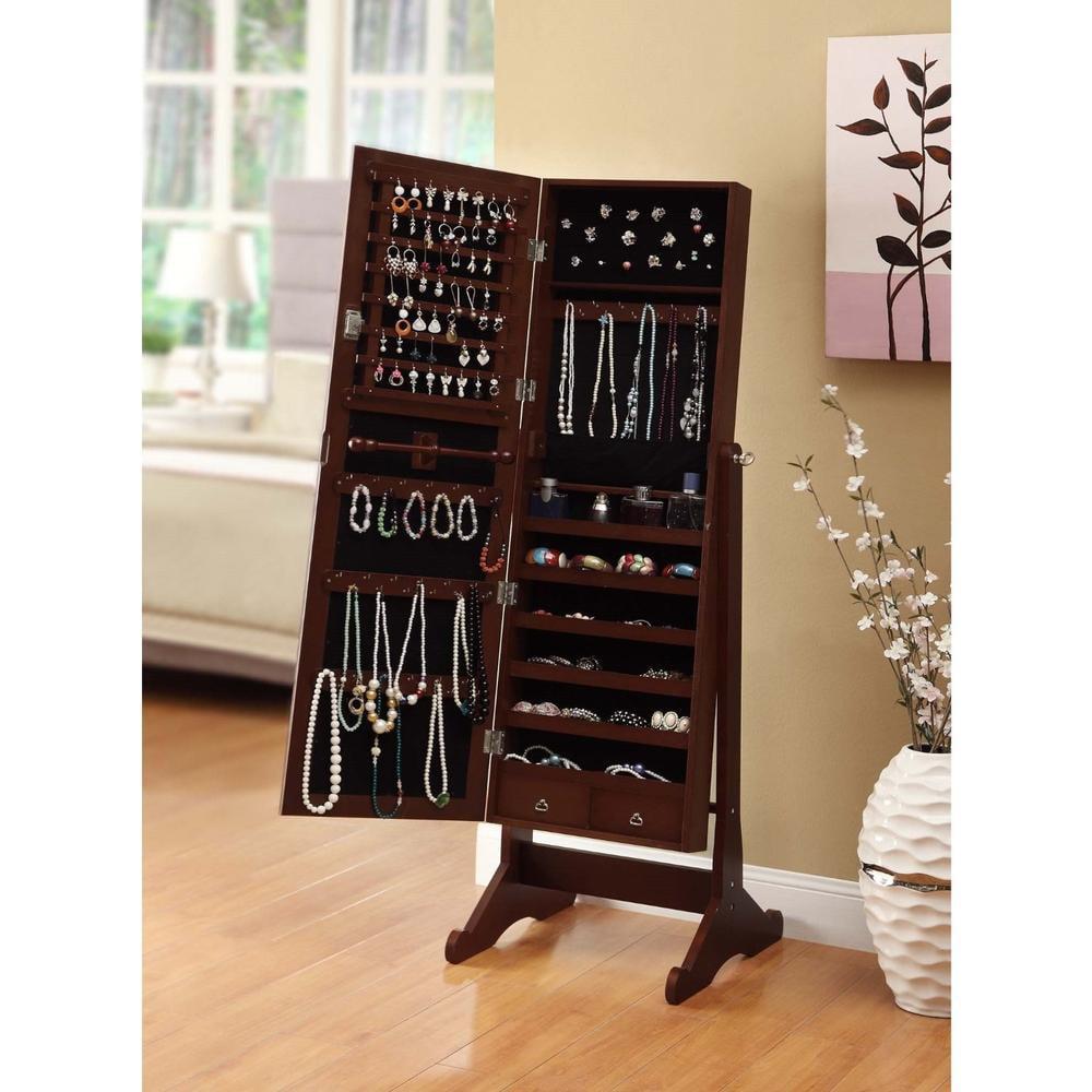 btexpert premium cherry cheval mirror jewelry cabinet armoire box stand organizer case walmartcom
