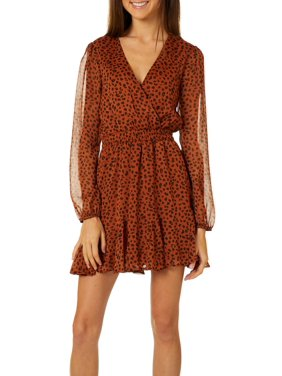 Trixxi Juniors Leopard Print V-Neck Long Sleeve Dress
