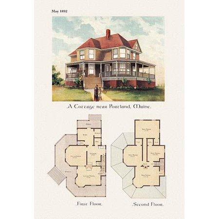 American Architecture of the Victorian Period with an illustration of the homes exterior and a two floor architectural plan and layout Poster Print by unknown