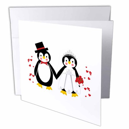 3dRose Cute Red Hearts Penguin Bride and Groom Wedding Couple, Greeting Cards, 6 x 6 inches, set of 12