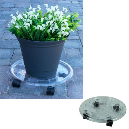 15 Inch Round Clear Plastic Roller Planter Caddy