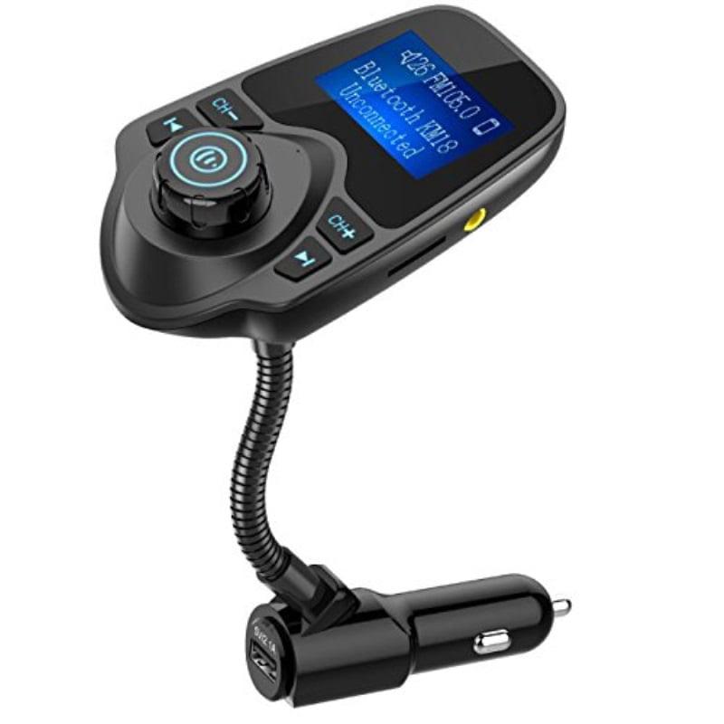 Nulaxy Bluetooth Car FM Transmitter Audio Adapter Receiver Wireless Handsfree Voltmeter Car Kit TF Card AUX 1.44 Display - KM18 Black Matte
