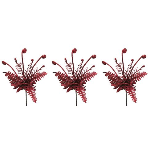 Admired by Nature Glitter Grass Bush Christmas Spray (Set of 3)