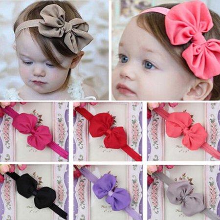 Micelec 10Pcs Cute Kids Girl Baby Chiffon Toddler Flower Bow Headband Hair Band Headwear