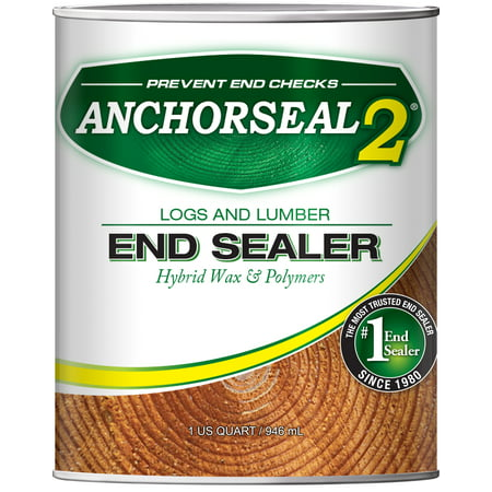 ANCHORSEAL 2 Log & Lumber end grain sealer (1 Quart) - Prevents up to 90% of end checks (Drying Splits). Green wood sealer for turning blanks, bowls, wood slabs & cut ends of wood