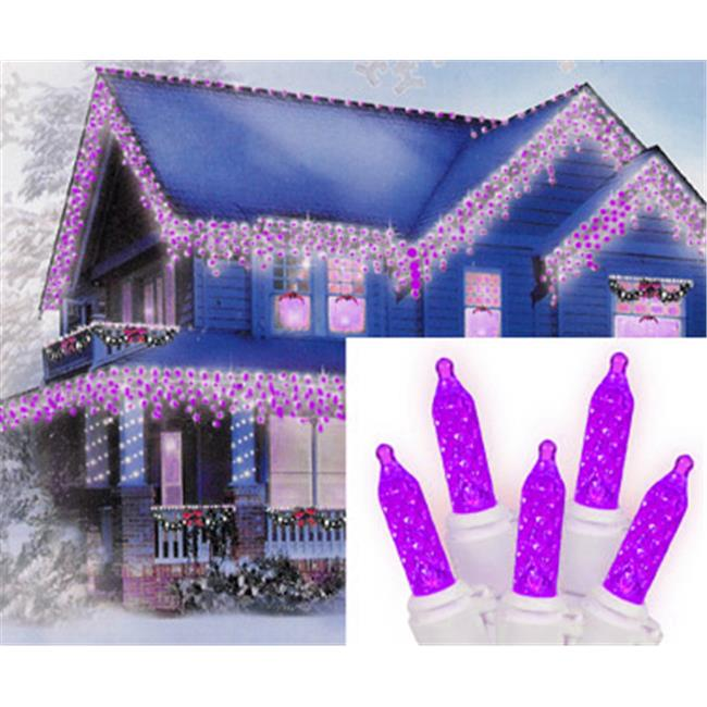 NorthLight Set Of 70 Purple LED M5 Icicle Christmas Lights - White Wire