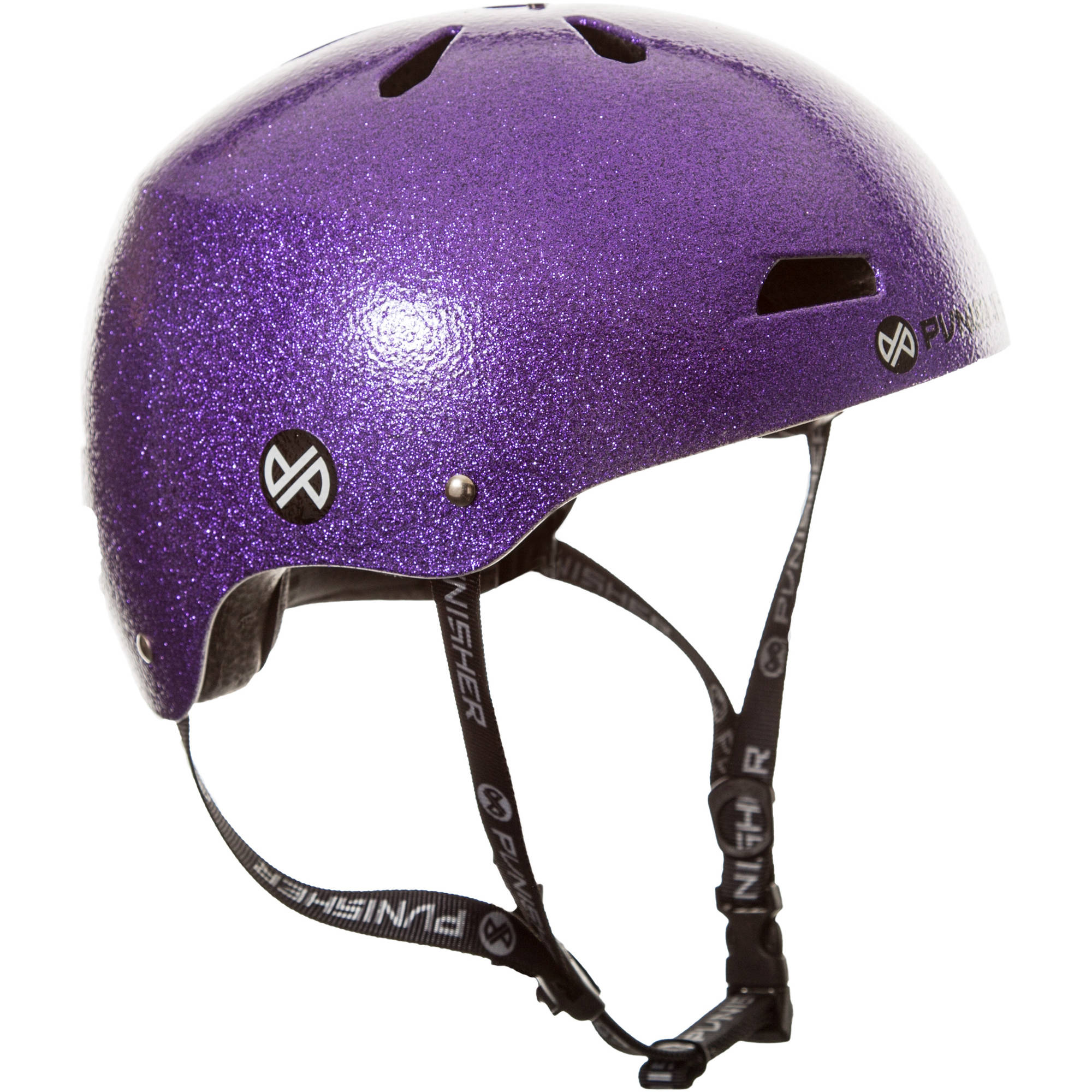 Punisher Skateboards Pro 13-Vent Purple Flake Dual Safety Certified BMX Bike and Skateboard Helmet, Youth Medium/Large