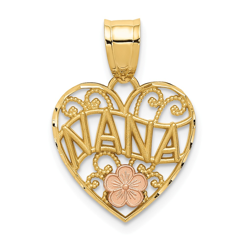 14k Two Tone Gold Grandma Nana Heart Pendant