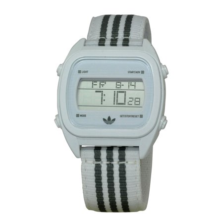 ADH2732 Unisex Sydney Digital Dial White & Grey Nylon Strap Chronograph Watch (Watch Adidas Men)