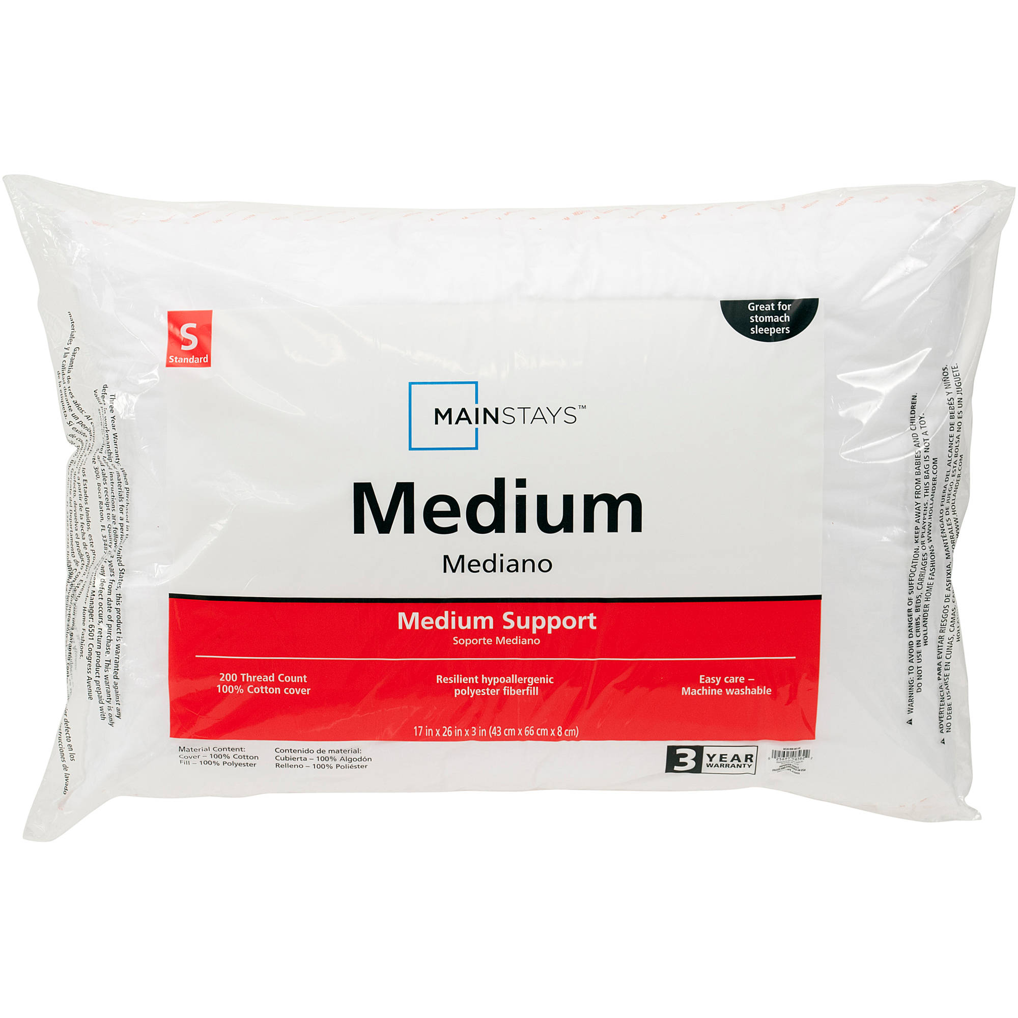 Mainstays Medium Support Pillow