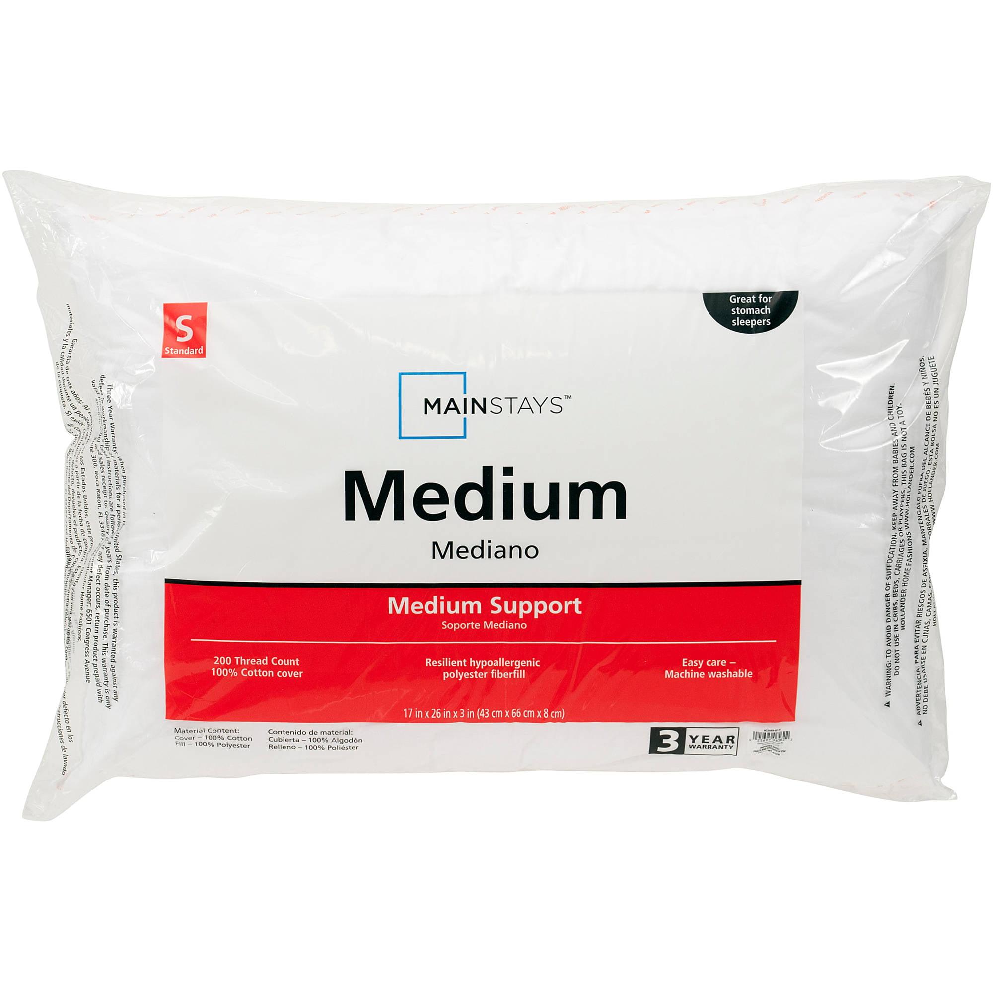 Mainstays 200TC Cotton Medium Pillow in Multiple Sizes