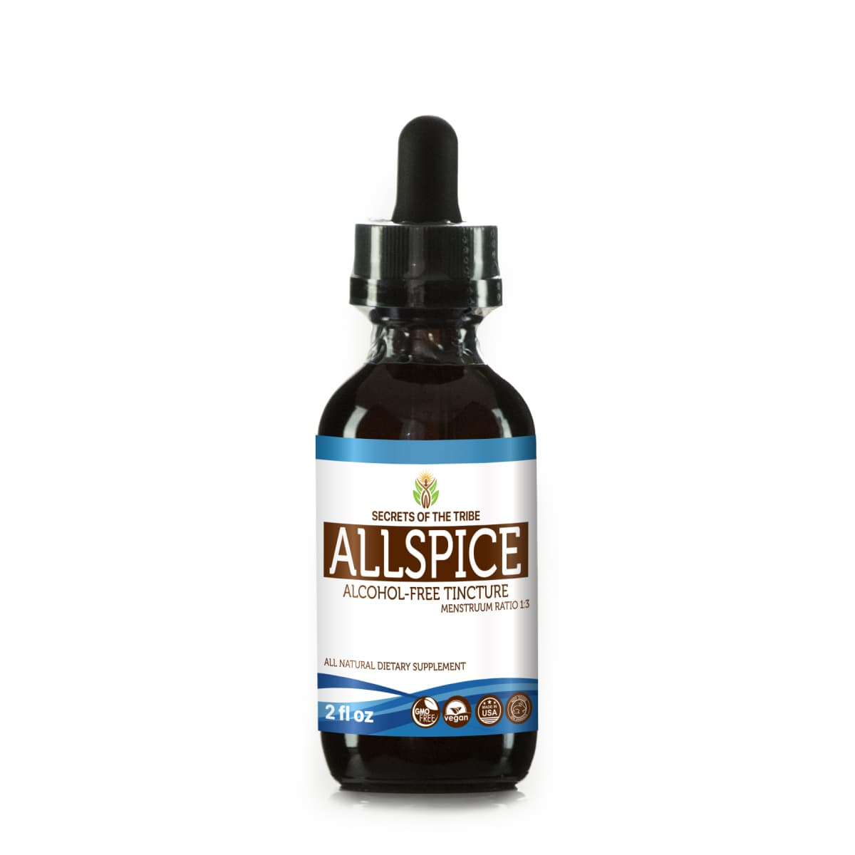 Allspice Tincture Alcohol-FREE Extract, Organic Allspice (Pimenta Dioica) Dried Fruit 2 oz by Nevada Pharm