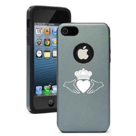 Apple iPhone 6 6s Shockproof AS Aluminum & Silicone Hard Soft Case Cover Irish Claddagh (Silver Gray),Daylor