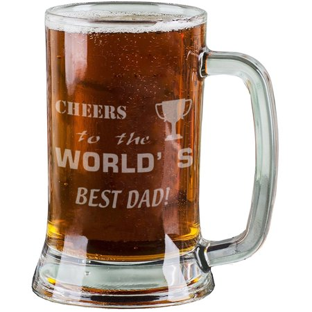 16 Oz Beer Mugs (16 Oz Personalised Pint Beer Glasses Etched Mug Engraved with CHEERS to the WORLD'S BEST DAD! Beer Glasses for Dad)