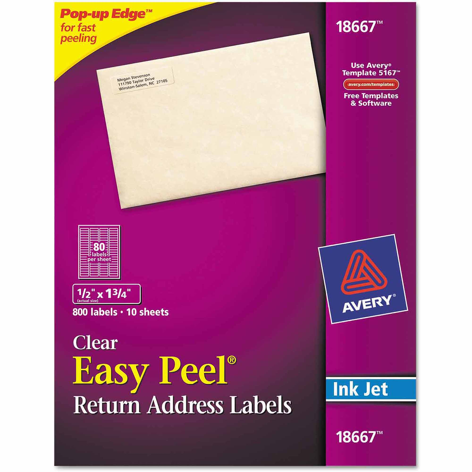 "Avery Easy Peel Mailing Labels for Inkjet Printers, 1/2"" x 1 1/4"", Clear, 800/Pack"