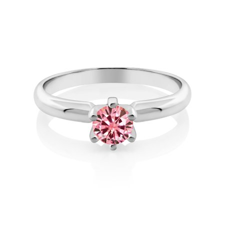 925 Sterling Silver Solitaire Ring Pink Round Created Moissanite 0.50ct DEW