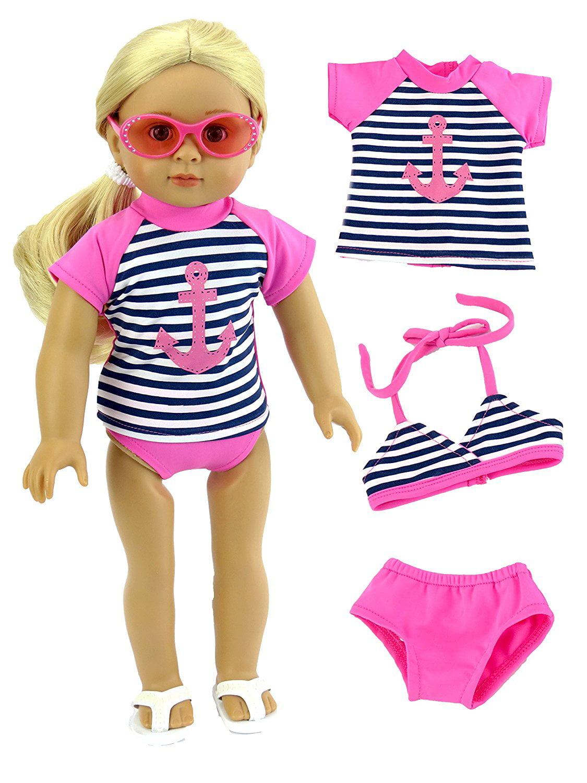 a4474fc12 Anchor Rash Guard, Bikini Top, and Bikini Bottoms Bathing Suit for 18 Inch  Doll | Fits 18