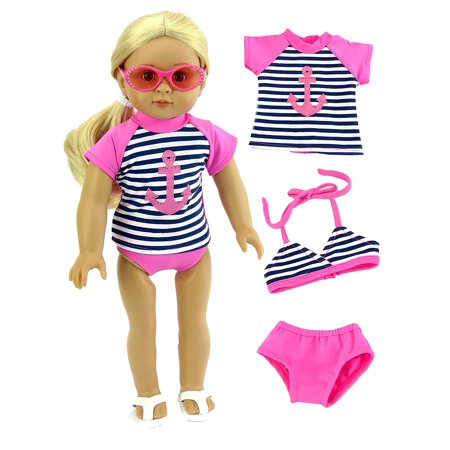 Anchor Rash Guard, Bikini Top, and Bikini Bottoms Bathing Suit for 18 Inch Doll | Fits 18