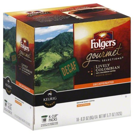 Folgers 100% Colombian Decaf Coffee, Medium-Dark Roast, K-Cup Pods for Keurig K-Cup Brewers, 18-Count