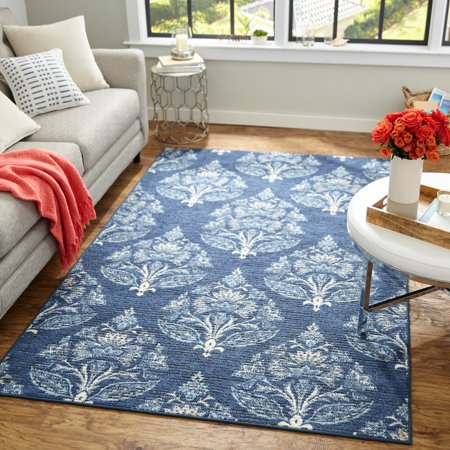 "Image of ""Mohawk Home Relic Carina Blue Transitional Floral Printed Area Rug, 7'6""""x10', Blue"""